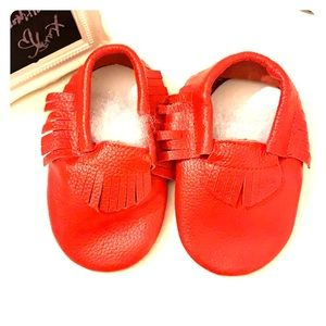Baby leather Moccasins-Red